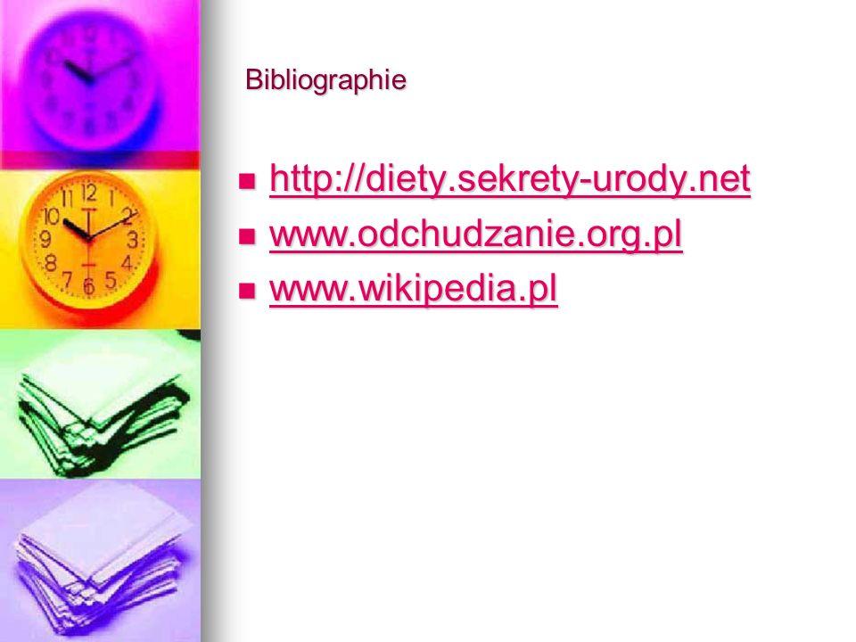 Bibliographie Bibliographie http://diety.sekrety-urody.net http://diety.sekrety-urody.net http://diety.sekrety-urody.net www.odchudzanie.org.pl www.odchudzanie.org.pl www.odchudzanie.org.pl www.wikipedia.pl www.wikipedia.pl www.wikipedia.pl