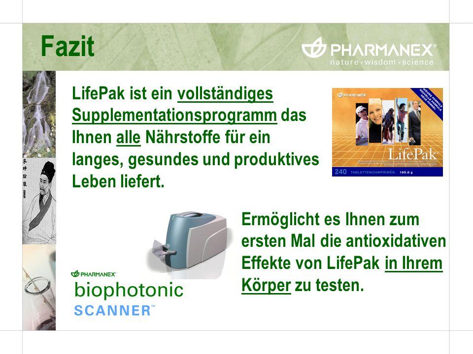 Fazit LifePak ist ein vollständiges Supplementationsprogramm das Ihnen alle Nährstoffe für ein langes, gesundes und produktives Leben liefert. Ermögli