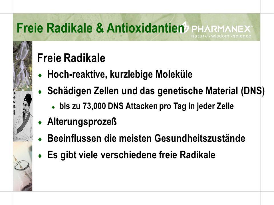 Freie Radikale Hoch-reaktive, kurzlebige Moleküle Schädigen Zellen und das genetische Material (DNS) bis zu 73,000 DNS Attacken pro Tag in jeder Zelle Alterungsprozeß Beeinflussen die meisten Gesundheitszustände Es gibt viele verschiedene freie Radikale Freie Radikale & Antioxidantien