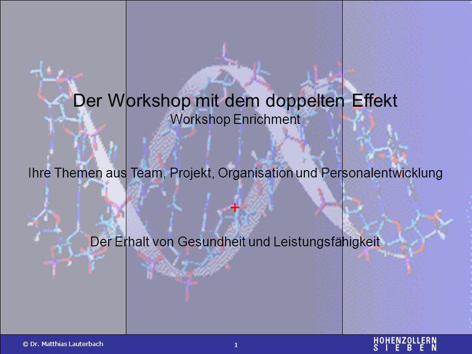 1 © Dr. Matthias Lauterbach Der Workshop mit dem doppelten Effekt Workshop Enrichment Ihre Themen aus Team, Projekt, Organisation und Personalentwickl