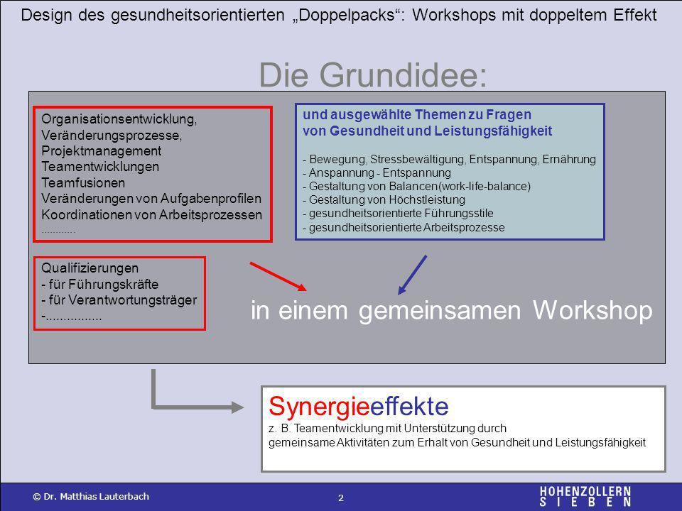 2 © Dr. Matthias Lauterbach in einem gemeinsamen Workshop Design des gesundheitsorientierten Doppelpacks: Workshops mit doppeltem Effekt Die Grundidee