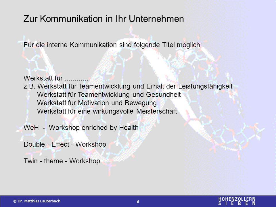 6 © Dr. Matthias Lauterbach Für die interne Kommunikation sind folgende Titel möglich: Werkstatt für............ z.B. Werkstatt für Teamentwicklung un