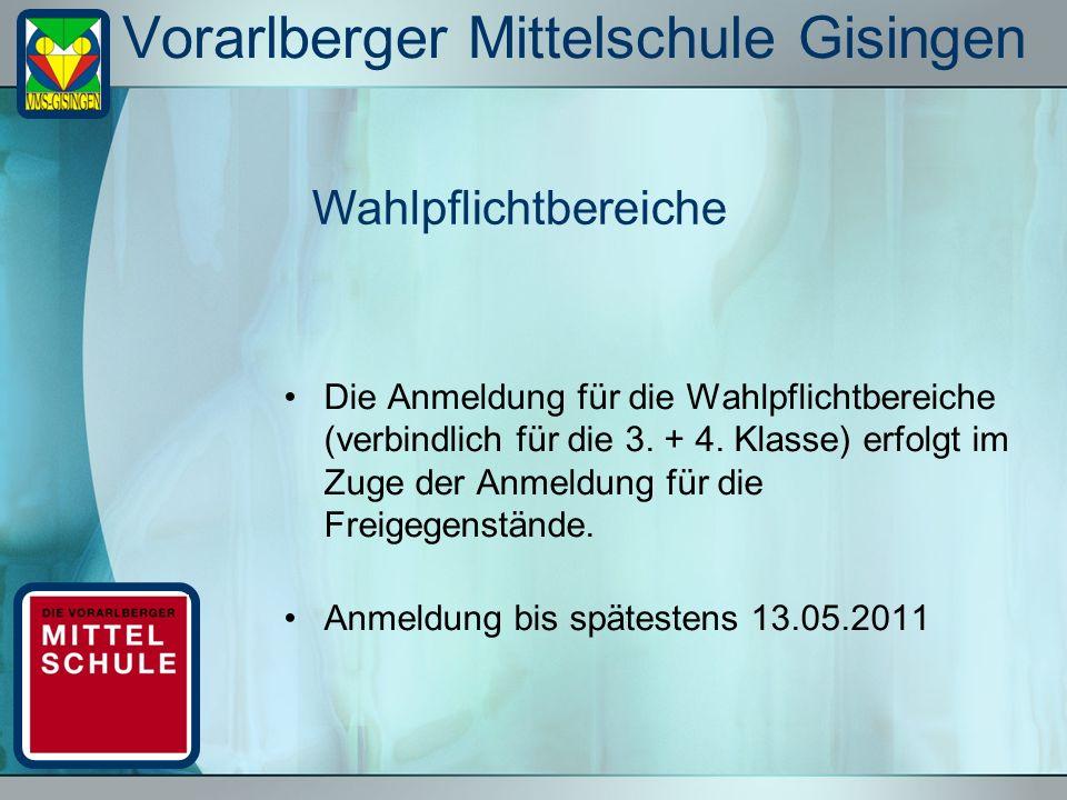 Vorarlberger Mittelschule Gisingen Die Anmeldung für die Wahlpflichtbereiche (verbindlich für die 3. + 4. Klasse) erfolgt im Zuge der Anmeldung für di