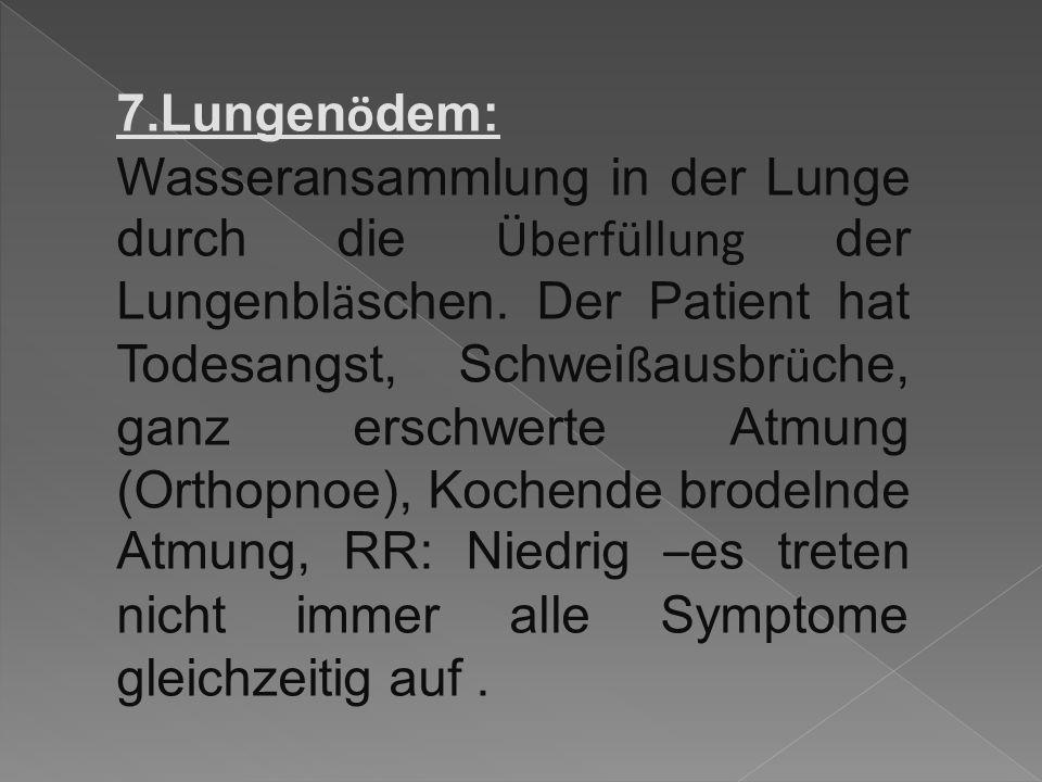7.Lungen ö dem: Wasseransammlung in der Lunge durch die Überfüllung der Lungenbl ä schen.