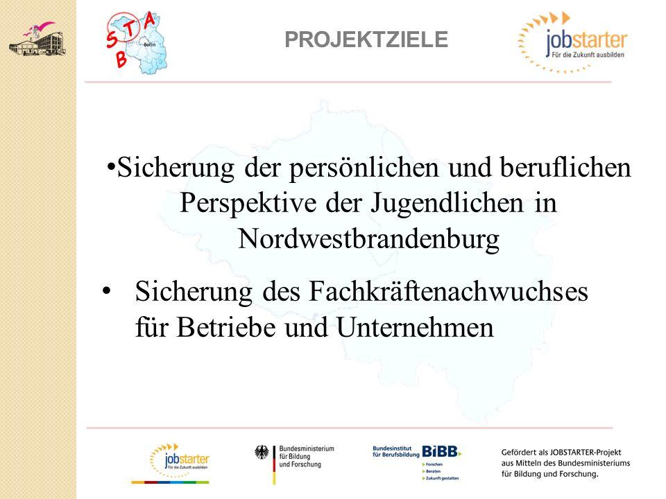 S T A B PROJEKTZIELE Sicherung der persönlichen und beruflichen Perspektive der Jugendlichen in Nordwestbrandenburg Sicherung des Fachkräftenachwuchses für Betriebe und Unternehmen