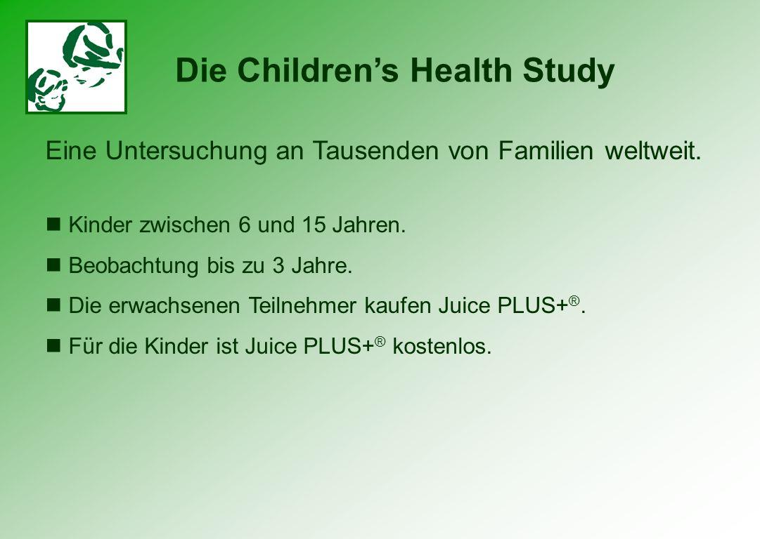Erste Ergebnisse nach einer einjährigen Einnahme von Juice PLUS+ ® 73 % Trinken weniger Limonade oder essen weniger Fast Food 62 % essen mehr Obst & Gemüse 55 % trinken mehr Wasser 59 % nehmen weniger verschriebene oder selbstgekaufte Medikamente ein Die Childrens Health Study