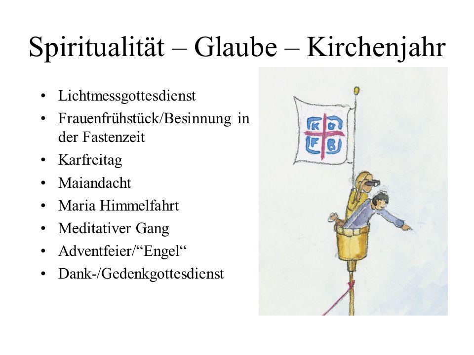 Spiritualität – Glaube – Kirchenjahr Lichtmessgottesdienst Frauenfrühstück/Besinnung in der Fastenzeit Karfreitag Maiandacht Maria Himmelfahrt Meditat