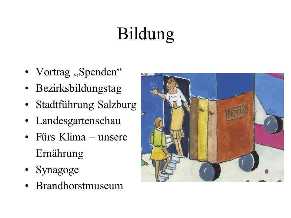 Bildung Vortrag Spenden Bezirksbildungstag Stadtführung Salzburg Landesgartenschau Fürs Klima – unsere Ernährung Synagoge Brandhorstmuseum