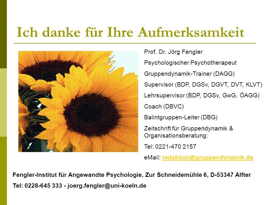 Ich danke für Ihre Aufmerksamkeit Prof. Dr. Jörg Fengler Psychologischer Psychotherapeut Gruppendynamik-Trainer (DAGG) Supervisor (BDP, DGSv, DGVT, DV