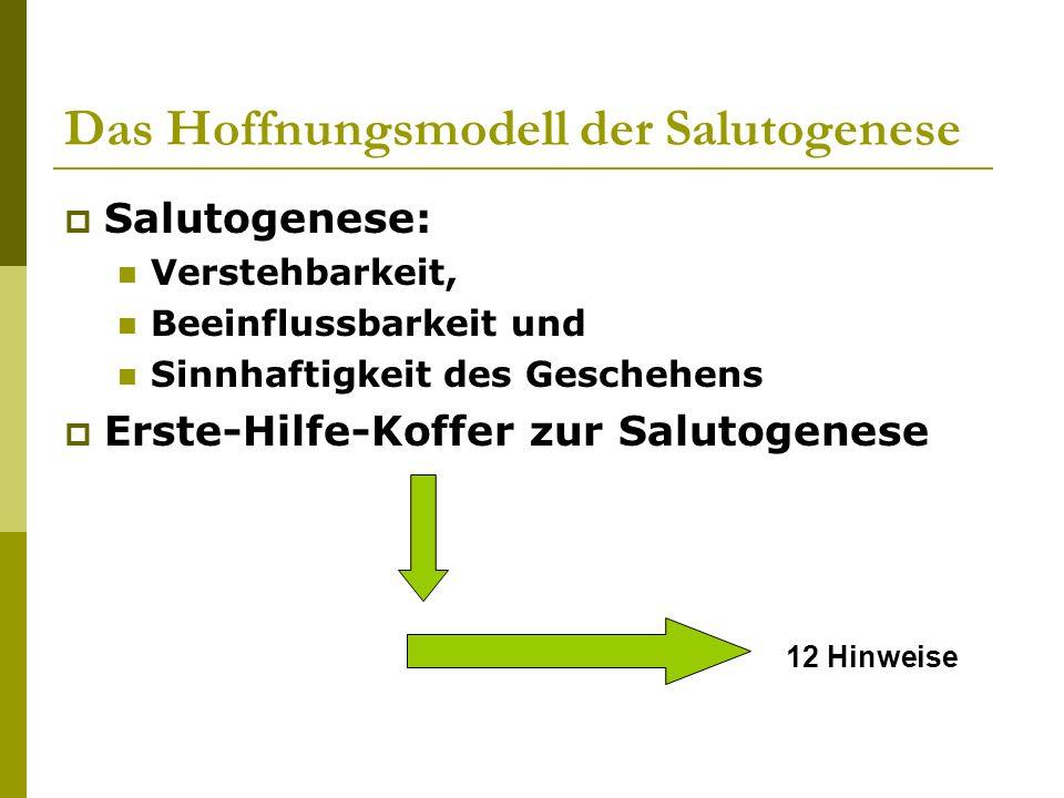 Das Hoffnungsmodell der Salutogenese Salutogenese: Verstehbarkeit, Beeinflussbarkeit und Sinnhaftigkeit des Geschehens Erste-Hilfe-Koffer zur Salutoge
