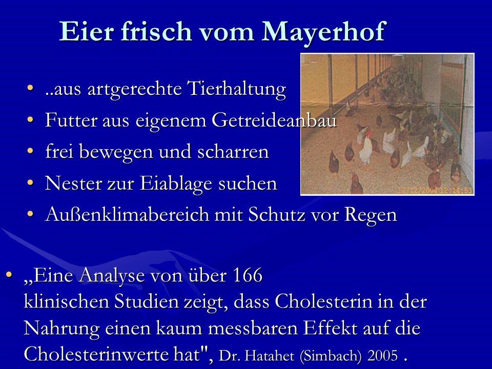 Eier frisch vom Mayerhof Eine Analyse von über 166 klinischen Studien zeigt, dass Cholesterin in der Nahrung einen kaum messbaren Effekt auf die Cholesterinwerte hat , Dr.
