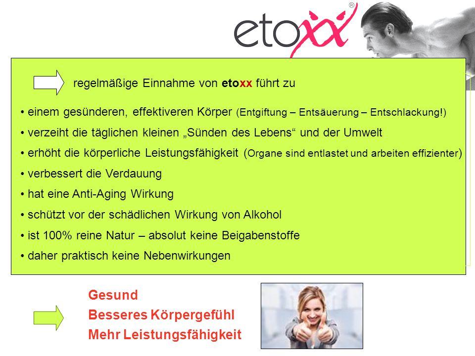 regelmäßige Einnahme von etoxx führt zu einem gesünderen, effektiveren Körper (Entgiftung – Entsäuerung – Entschlackung!) verzeiht die täglichen klein
