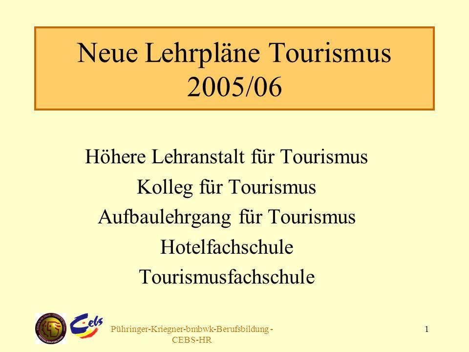 Arbeitsgruppe Pühringer-Kriegner-bmbwk-Berufsbildung - CEBS-HR 1 Neue Lehrpläne Tourismus 2005/06 Höhere Lehranstalt für Tourismus Kolleg für Tourismus Aufbaulehrgang für Tourismus Hotelfachschule Tourismusfachschule