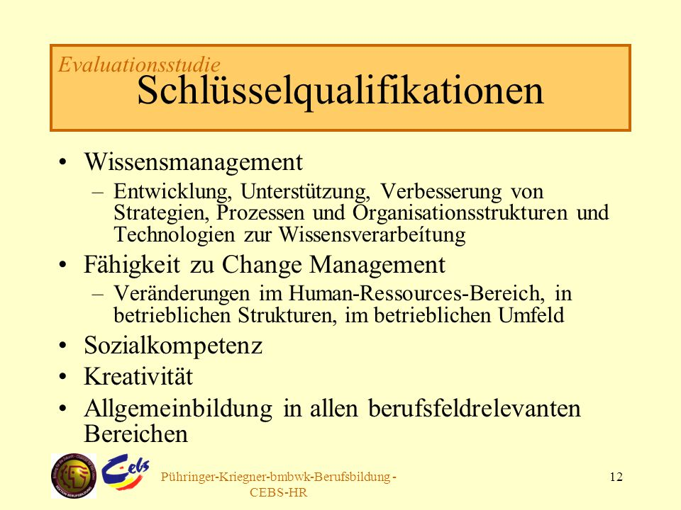 Arbeitsgruppe Pühringer-Kriegner-bmbwk-Berufsbildung - CEBS-HR 12 Schlüsselqualifikationen Wissensmanagement –Entwicklung, Unterstützung, Verbesserung