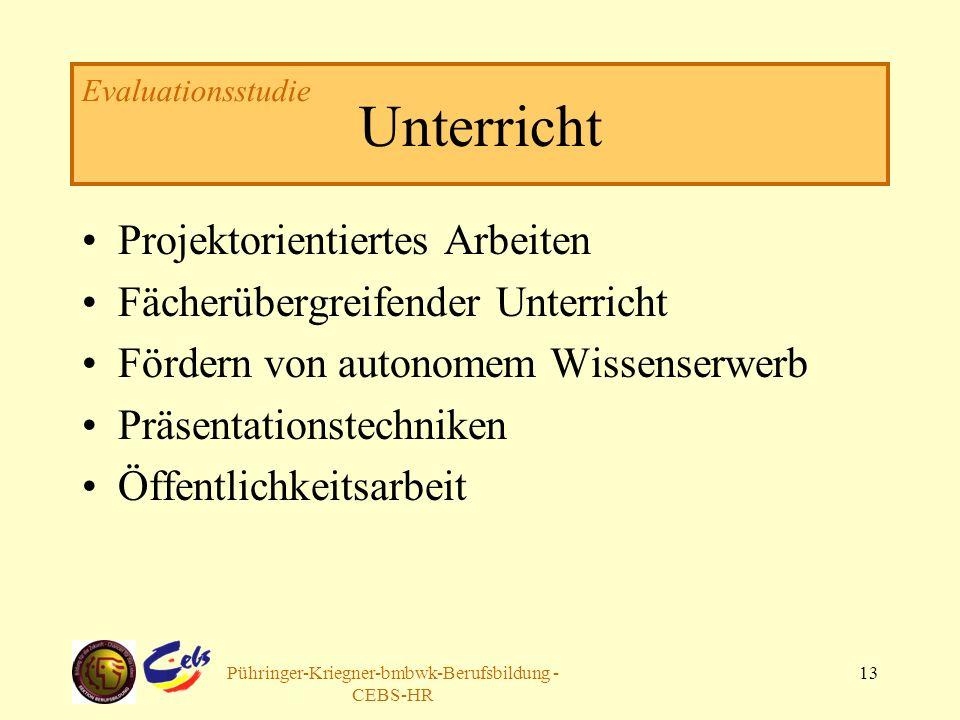 Arbeitsgruppe Pühringer-Kriegner-bmbwk-Berufsbildung - CEBS-HR 13 Projektorientiertes Arbeiten Fächerübergreifender Unterricht Fördern von autonomem W