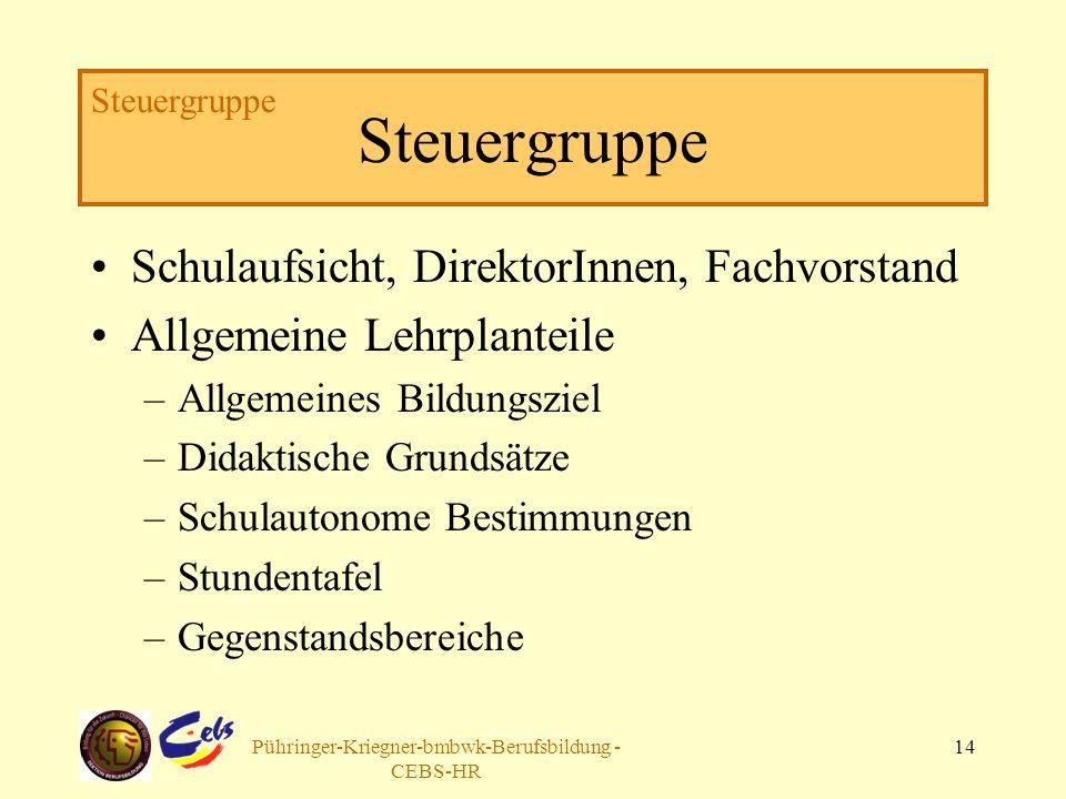 Arbeitsgruppe Pühringer-Kriegner-bmbwk-Berufsbildung - CEBS-HR 14 Steuergruppe Schulaufsicht, DirektorInnen, Fachvorstand Allgemeine Lehrplanteile –Al