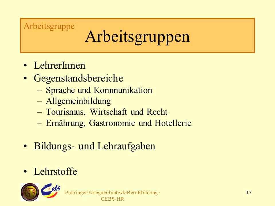 Arbeitsgruppe Pühringer-Kriegner-bmbwk-Berufsbildung - CEBS-HR 15 Arbeitsgruppen LehrerInnen Gegenstandsbereiche –Sprache und Kommunikation –Allgemein