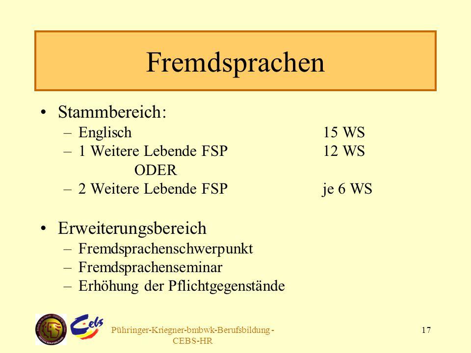 Arbeitsgruppe Pühringer-Kriegner-bmbwk-Berufsbildung - CEBS-HR 17 Fremdsprachen Stammbereich: –Englisch 15 WS –1 Weitere Lebende FSP12 WS ODER –2 Weit