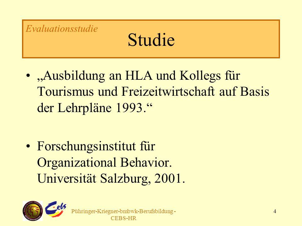 Arbeitsgruppe Pühringer-Kriegner-bmbwk-Berufsbildung - CEBS-HR 4 Studie Ausbildung an HLA und Kollegs für Tourismus und Freizeitwirtschaft auf Basis der Lehrpläne 1993.