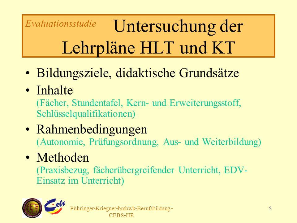 Arbeitsgruppe Pühringer-Kriegner-bmbwk-Berufsbildung - CEBS-HR 5 Untersuchung der Lehrpläne HLT und KT Bildungsziele, didaktische Grundsätze Inhalte (