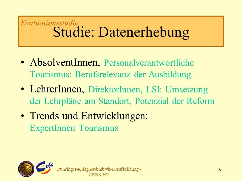 Arbeitsgruppe Pühringer-Kriegner-bmbwk-Berufsbildung - CEBS-HR 6 Studie: Datenerhebung AbsolventInnen, Personalverantwortliche Tourismus: Berufsreleva