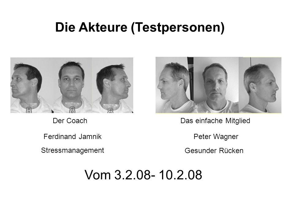 Die Akteure (Testpersonen) Der CoachDas einfache Mitglied Ferdinand JamnikPeter Wagner Stressmanagement Gesunder Rücken Vom 3.2.08- 10.2.08