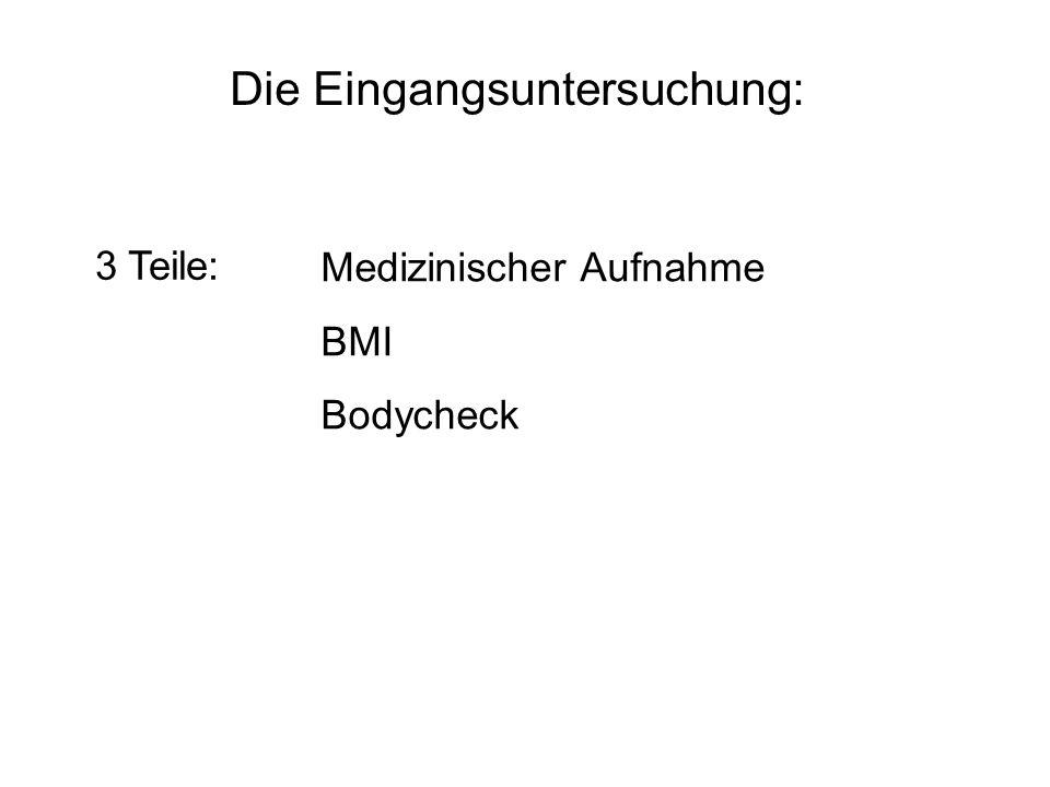 Die Eingangsuntersuchung: 3 Teile: Medizinischer Aufnahme BMI Bodycheck
