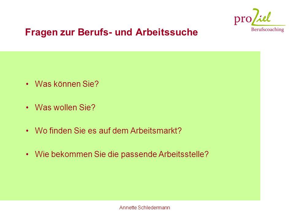 Annette Schledermann Fragen zur Berufs- und Arbeitssuche Was können Sie? Was wollen Sie? Wo finden Sie es auf dem Arbeitsmarkt? Wie bekommen Sie die p