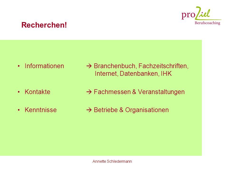 Annette Schledermann Recherchen! Informationen Branchenbuch, Fachzeitschriften, Internet, Datenbanken, IHK Kontakte Fachmessen & Veranstaltungen Kennt
