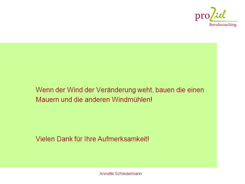 Annette Schledermann Wenn der Wind der Veränderung weht, bauen die einen Mauern und die anderen Windmühlen! Vielen Dank für Ihre Aufmerksamkeit!