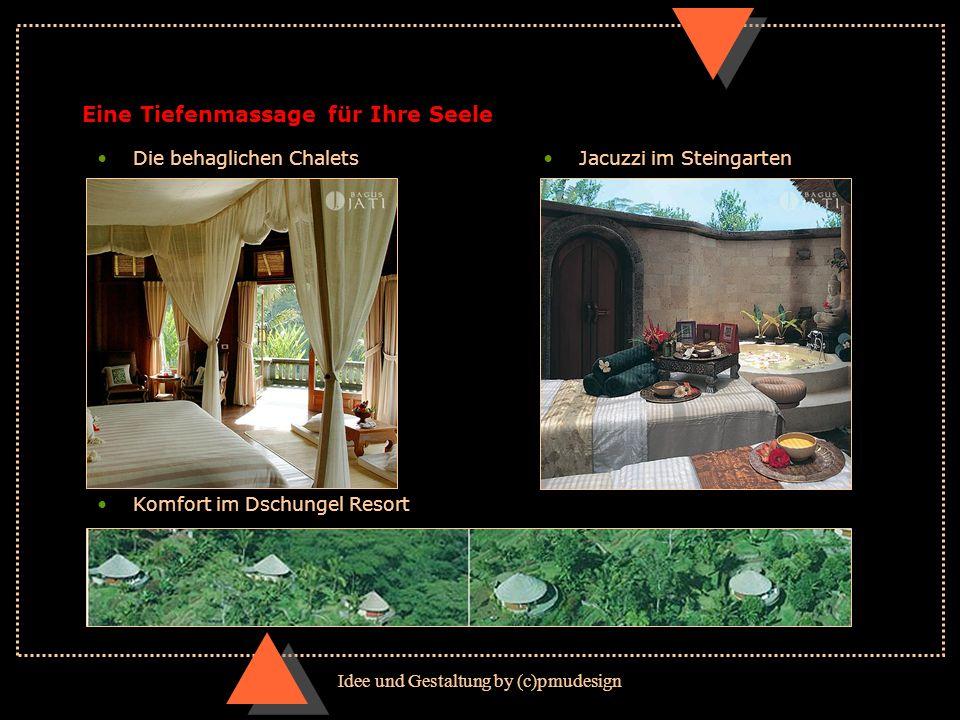 Idee und Gestaltung by (c)pmudesign Eine Tiefenmassage für Ihre Seele Komfort im Dschungel Resort Die behaglichen ChaletsJacuzzi im Steingarten