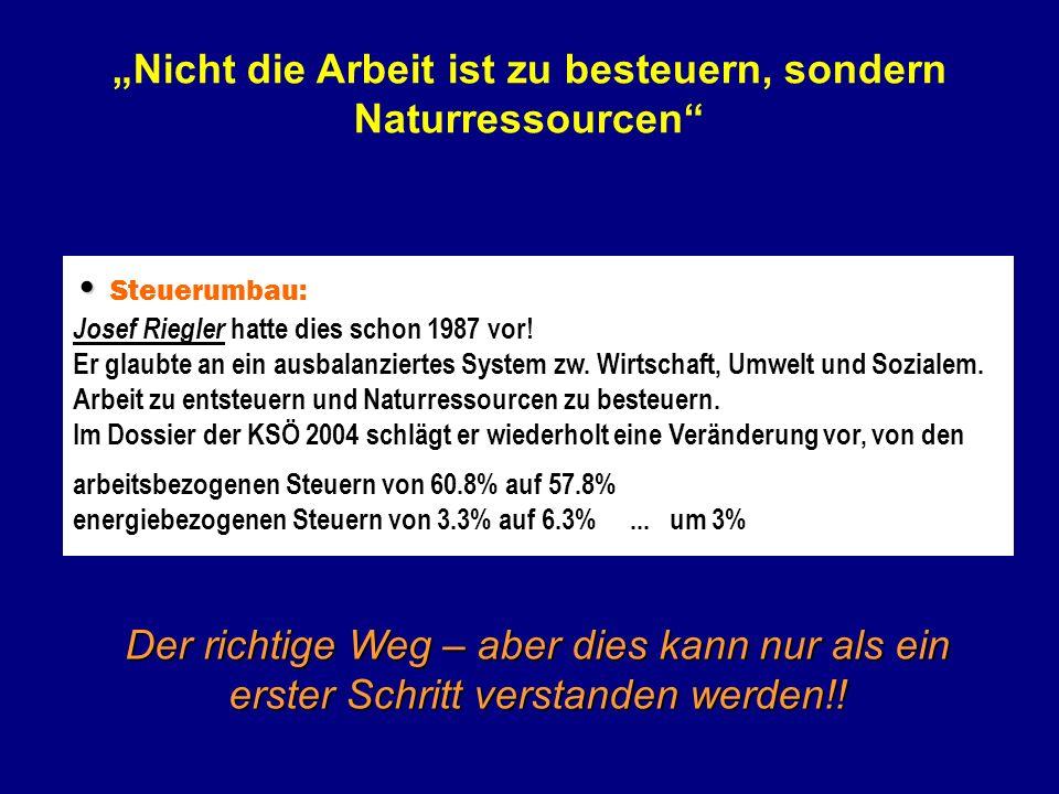Steuerumbau: Josef Riegler hatte dies schon 1987 vor! Er glaubte an ein ausbalanziertes System zw. Wirtschaft, Umwelt und Sozialem. Arbeit zu entsteue
