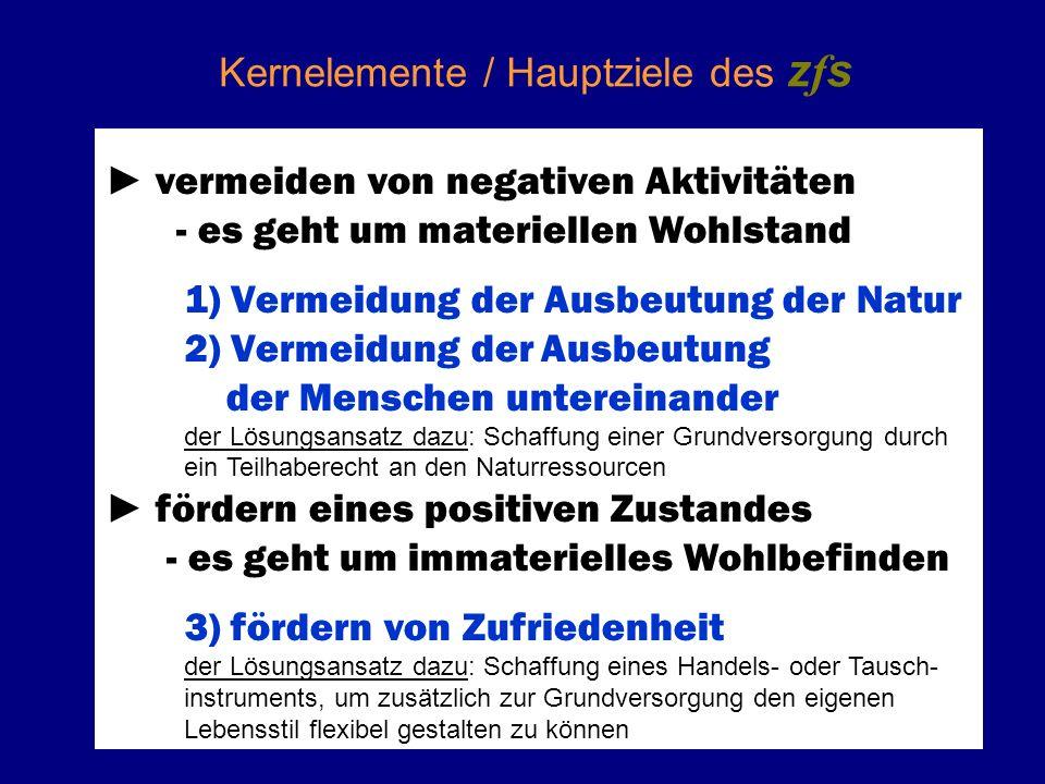 Kernelemente / Hauptziele des z f s vermeiden von negativen Aktivitäten - es geht um materiellen Wohlstand 1) Vermeidung der Ausbeutung der Natur 2) V