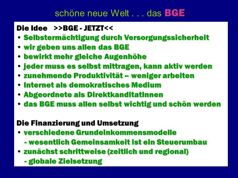 BGE schöne neue Welt... das BGE Die Idee >>BGE - JETZT >BGE - JETZT<< Selbstermächtigung durch Versorgungssicherheit Selbstermächtigung durch Versorgu