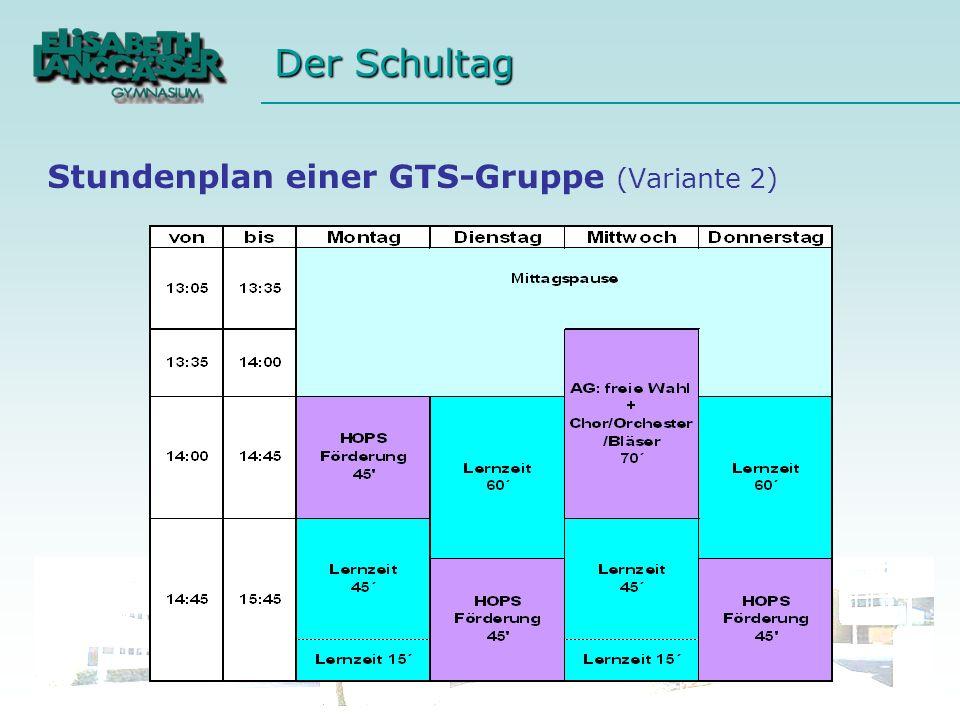 Der Schultag Stundenplan einer GTS-Gruppe (Variante 2)