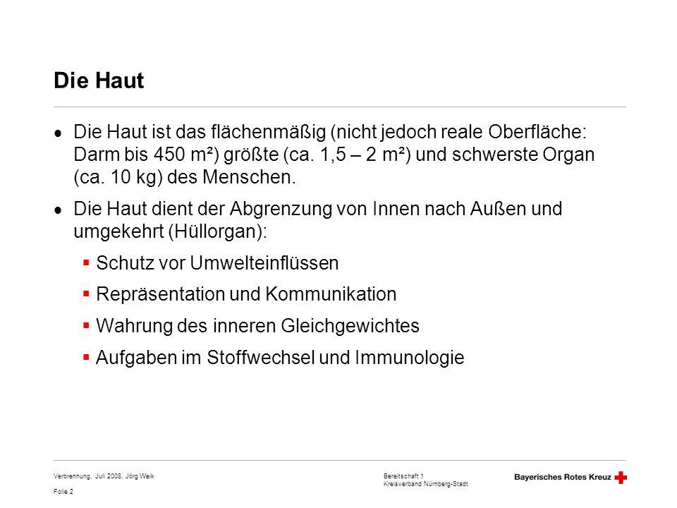 Bereitschaft 1 Kreisverband Nürnberg-Stadt Folie 3 Verbrennung, Juli 2008, Jörg Weik Aufbau der Haut Oberhaut (Epidermis): Epithelgewebe, mehrschichtiges verhornendes Plattenepithel (0,03 – 0,05 Millimeter; außer Hände und Füße: bis 2 mm, ggf.