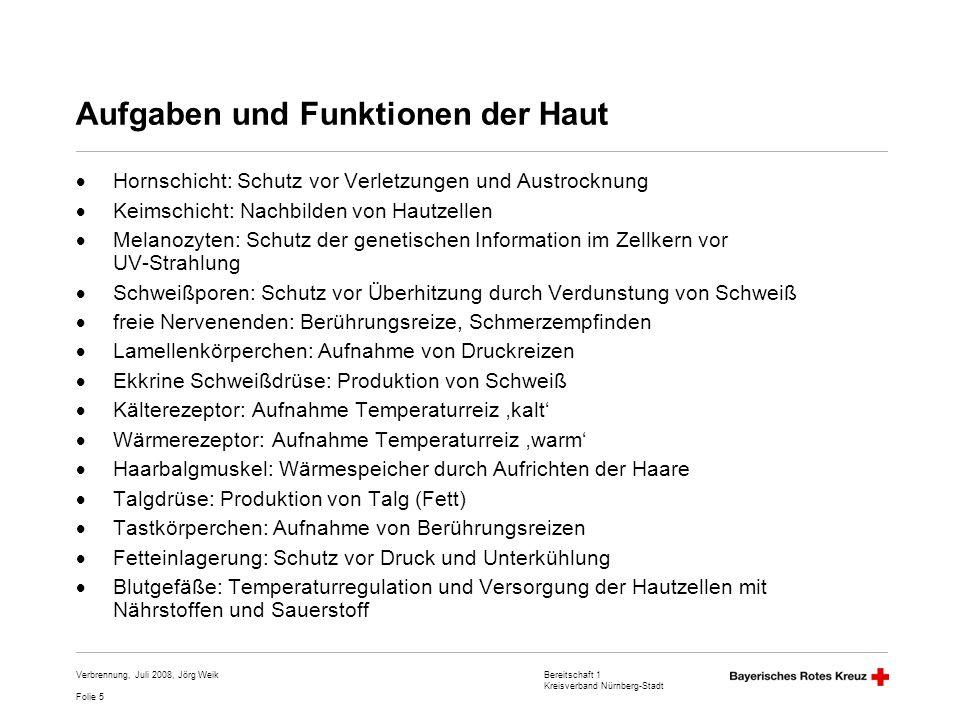 Bereitschaft 1 Kreisverband Nürnberg-Stadt Folie 5 Verbrennung, Juli 2008, Jörg Weik Aufgaben und Funktionen der Haut Hornschicht: Schutz vor Verletzu