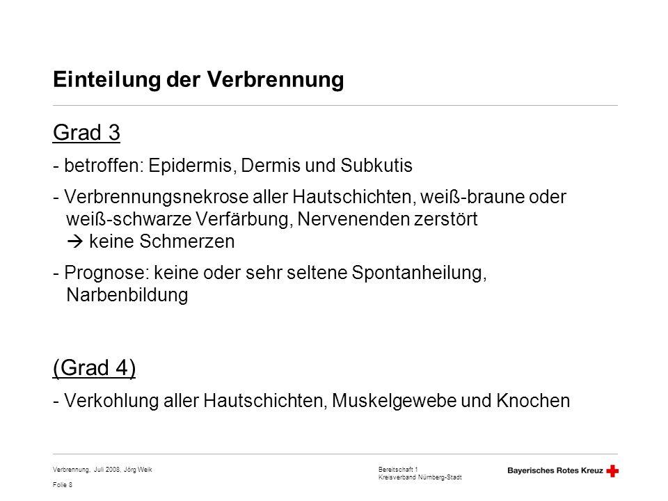 Bereitschaft 1 Kreisverband Nürnberg-Stadt Folie 8 Verbrennung, Juli 2008, Jörg Weik Einteilung der Verbrennung Grad 3 - betroffen: Epidermis, Dermis