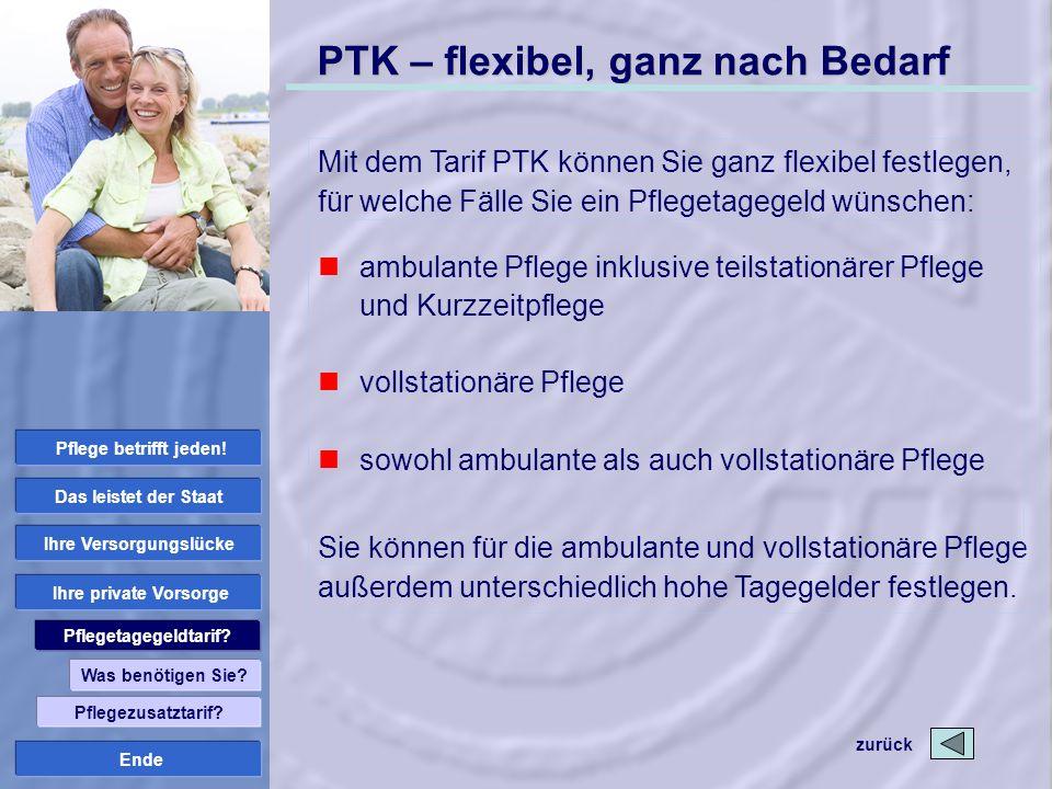 Ende PTK – flexibel, ganz nach Bedarf Mit dem Tarif PTK können Sie ganz flexibel festlegen, für welche Fälle Sie ein Pflegetagegeld wünschen: Sie könn