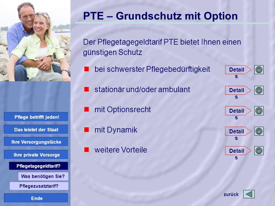Ende PTE – Grundschutz mit Option Der Pflegetagegeldtarif PTE bietet Ihnen einen günstigen Schutz Was benötigen Sie? Pflegetagegeldtarif? Ihre private