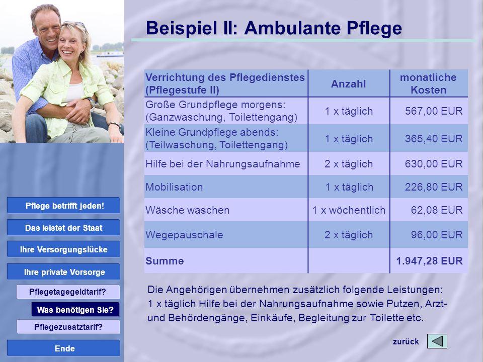Ende Beispiel II: Ambulante Pflege zurück Die Angehörigen übernehmen zusätzlich folgende Leistungen: 1 x täglich Hilfe bei der Nahrungsaufnahme sowie