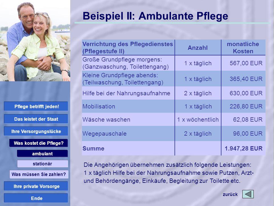 Ende Beispiel II: Ambulante Pflege Die Angehörigen übernehmen zusätzlich folgende Leistungen: 1 x täglich Hilfe bei der Nahrungsaufnahme sowie Putzen,