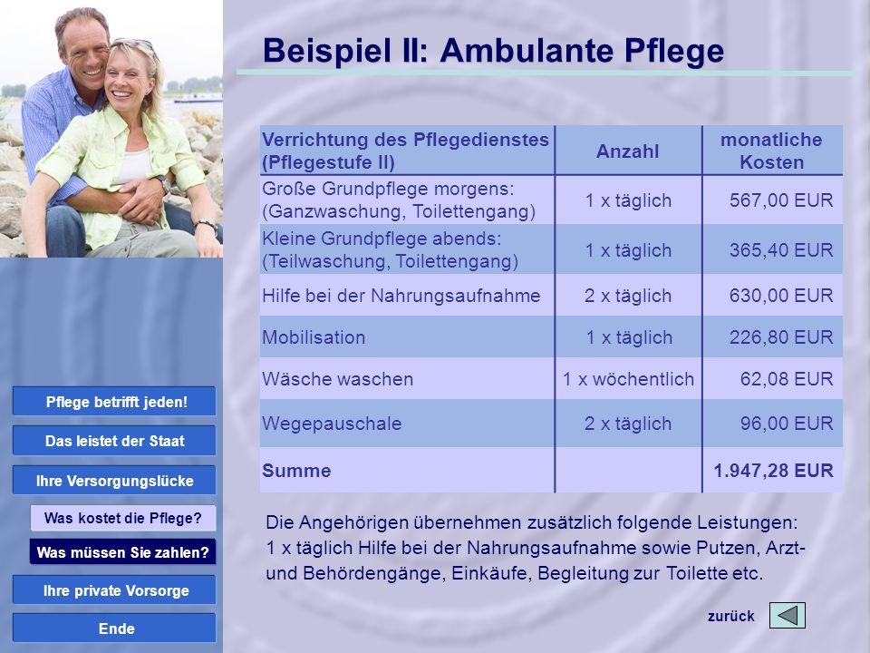 Ende Beispiel II: Ambulante Pflege zurück Was müssen Sie zahlen? Ihre private Vorsorge Ihre Versorgungslücke Das leistet der Staat Was kostet die Pfle