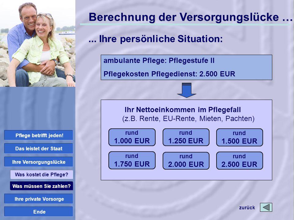 Ende rund 1.000 EUR Ihr Nettoeinkommen im Pflegefall (z.B. Rente, EU-Rente, Mieten, Pachten) rund 1.250 EUR rund 1.750 EUR rund 2.000 EUR rund 2.500 E