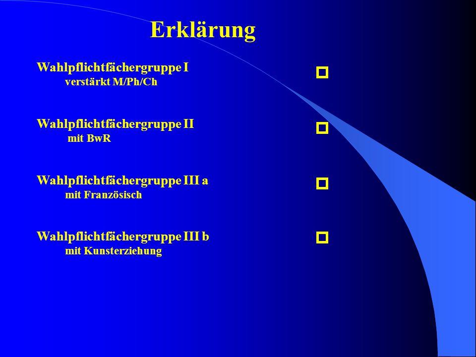 Erklärung Wahlpflichtfächergruppe I verstärkt M/Ph/Ch Wahlpflichtfächergruppe II mit BwR Wahlpflichtfächergruppe III a mit Französisch Wahlpflichtfäch