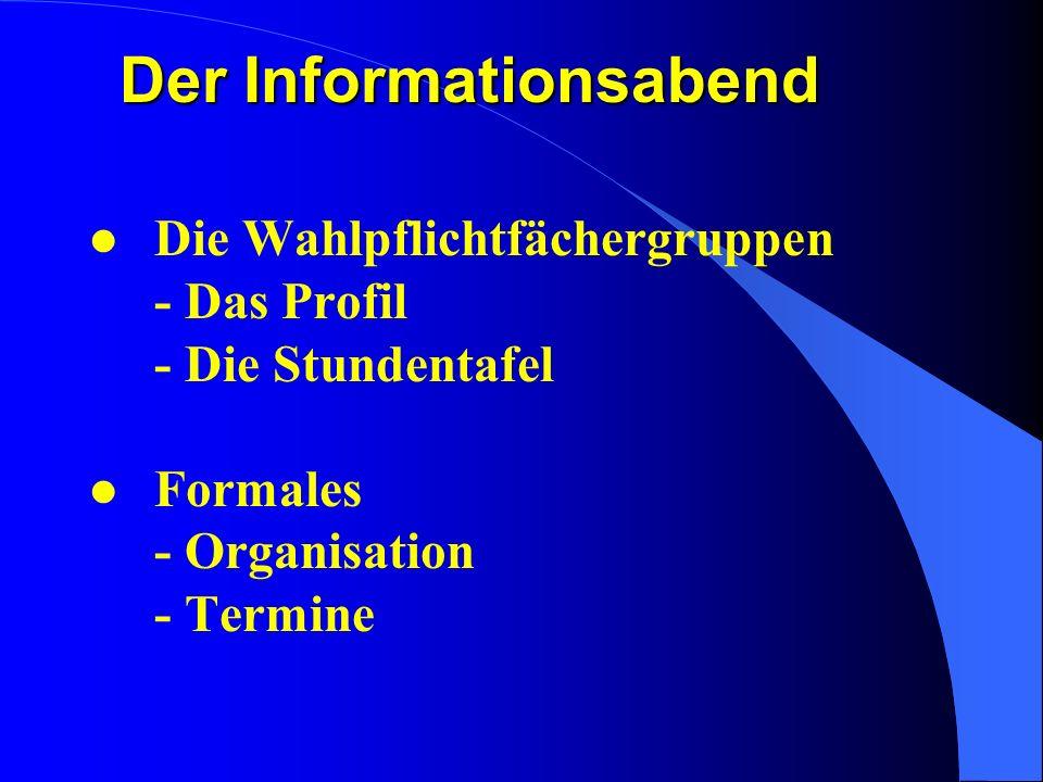 l Die Wahlpflichtfächergruppen - Das Profil - Die Stundentafel l Formales - Organisation - Termine Der Informationsabend