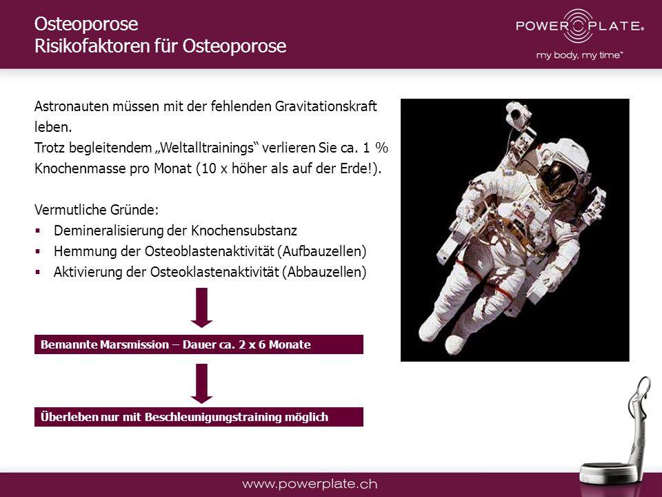 Copyright Power Plate Deutschland Astronauten müssen mit der fehlenden Gravitationskraft leben.