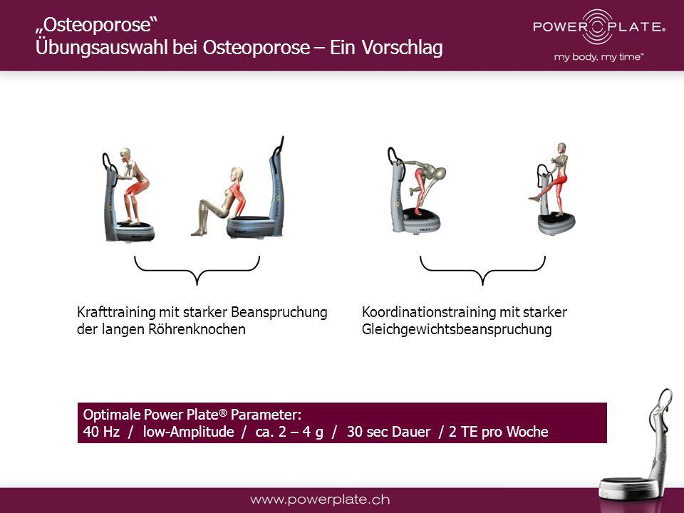 Copyright Power Plate Deutschland Krafttraining mit starker Beanspruchung der langen Röhrenknochen Koordinationstraining mit starker Gleichgewichtsbeanspruchung Optimale Power Plate ® Parameter: 40 Hz / low-Amplitude / ca.