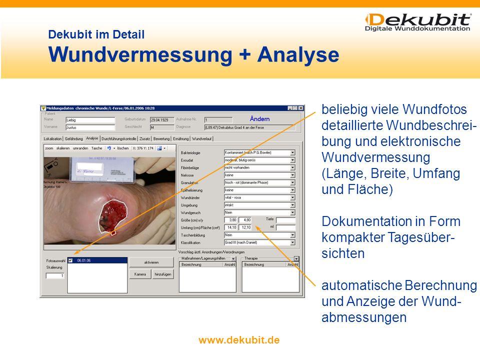 www.dekubit.de Dekubit im Detail Gefährdungsgrad Auswahl der Gefährdungs- skala durch Anklicken einfache Auswahl der Wunddetails aus Katalogen mit vor