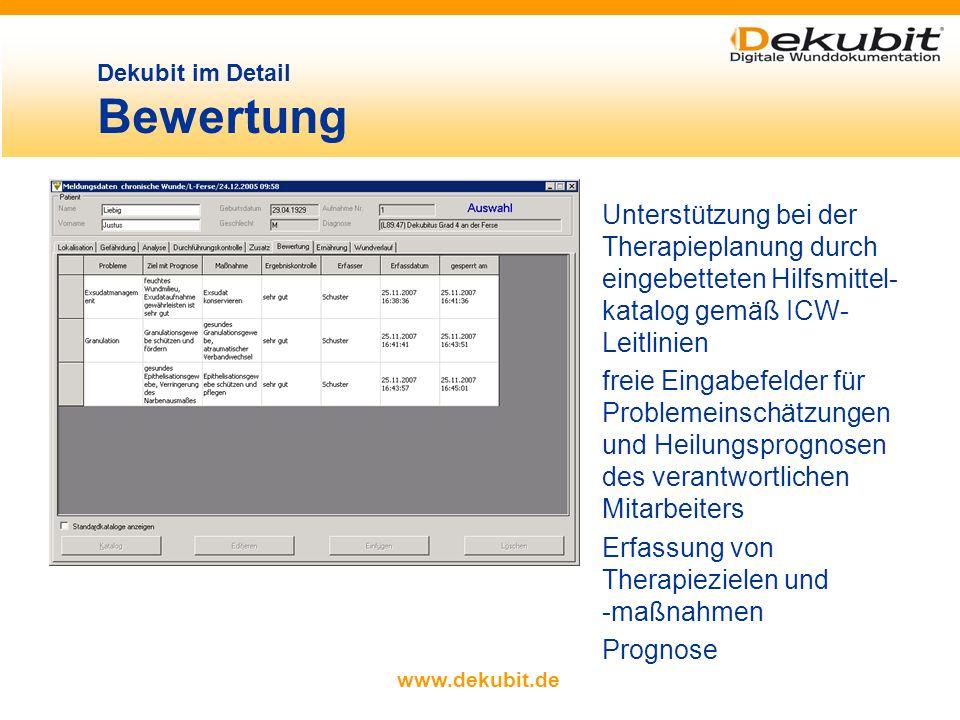 www.dekubit.de beliebig viele Wundfotos detaillierte Wundbeschrei- bung und elektronische Wundvermessung (Länge, Breite, Umfang und Fläche) Dokumentat